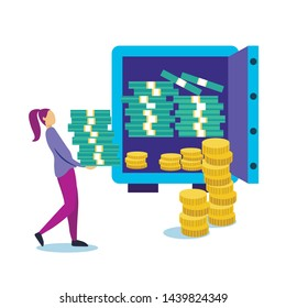 Poster Safekeeping Cash in Safe Cartoon Flat. Banner Positive Dynamics and Stability Liquidity Indicators.  Girl Carries Large Amount Money in Professional Safe. Vector Illustration.