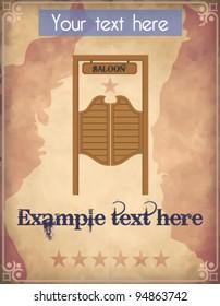 Poster with saloon door