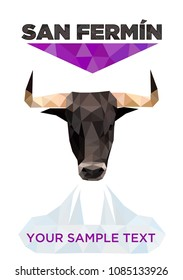 Poster for San Fermin, bull of low poly style, vector illustration, polygonal drawing, with the handkerchief lilac in solidarity with women and aggressions