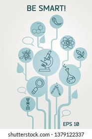 Poster for science and education, vector illustration