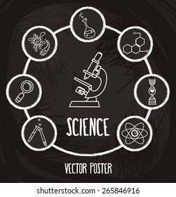 poster with science icons in hand drawn cartoon style, vector illustration