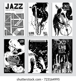 Poster Set for the Jazz Festival with Musical Instruments. Hand Drawn illustration with Different Ink Textures.