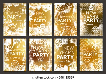 Poster Set for New Year's Eve Party Celebration - Grunge Stylized Snow with geometric snowflake design elements with golden background