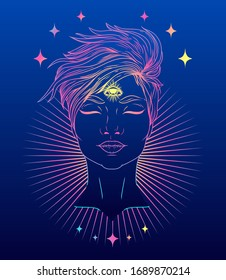 Poster with shining young woman with third eye in the night, vector illustration