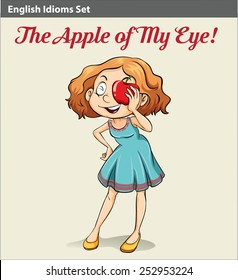 A poster showing the apple of my eye idiom