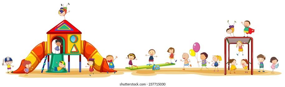 Плакат, показывающий детям, наслаждающимся игровой сет снаружи