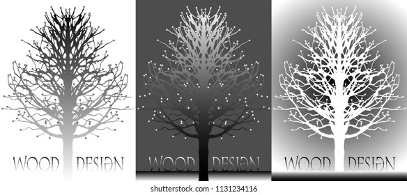 A poster with a silhouette of a tree can be used as a logo or design