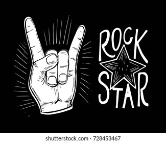 Rock'n'rolll poster with skull, rose, guitar. Hand drawn illustration converted to vector
