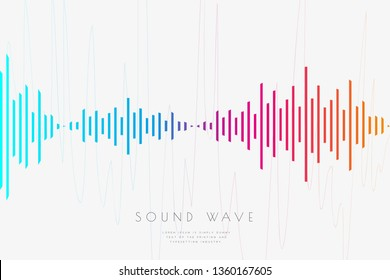 Poster of the sound wave from equalizer. Music soundwave design, light bright elements isolated on light gray backdrop. Abstract background consist of lines elements. Vector illustration
