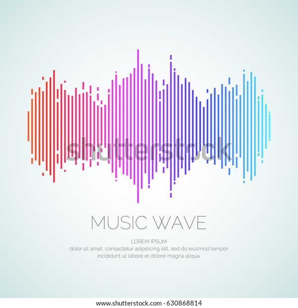 Poster of the sound wave from equalizer. Vector illustration on light background