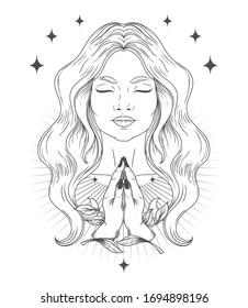 Poster with spiritual praying or meditating woman, vector illustration