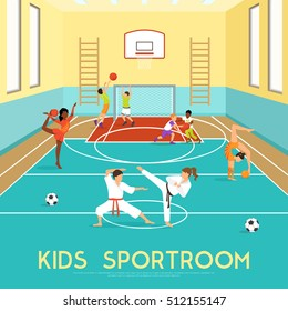 Poster of sportroom where kids doing gymnastics training in martial arts and playing basketball flat vector illustration