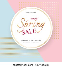 Poster Spring Sale Elegant golden specks pink background Luxury card poster for advertising sale promotions discounts Beautiful spring summer theme of fashion advertising sale discount Vector tag