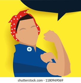Poster with strong woman. Abstract art. Vector illustration. We can do it