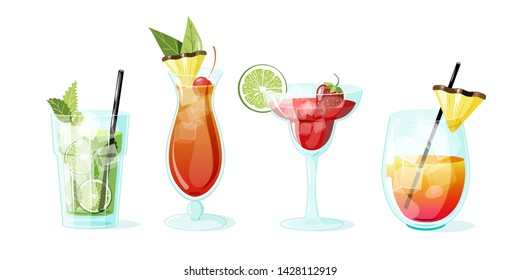 Poster with summer cocktails mai tai, rum punch, mojito, strawberry daiquiri. Vector illustration