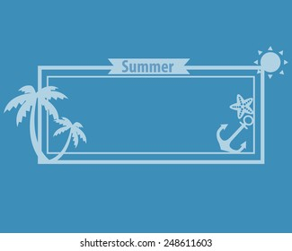 Poster summer on a blue background with palm trees and sun