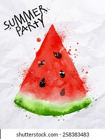 Poster summer party with a slices of watermelon and seeds  drawing with watercolor on crumpled paper.
