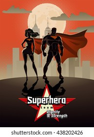 Poster. Superhero Couple: Male and female superheroes, posing in front of a light. City background.
