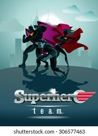 Poster. Superhero Team; Team of superheroes, posing in front of a light.