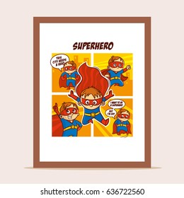 Poster Superheroes in the city Vector Illustration
