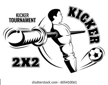 Poster for table football. Kicker emblem vector graphics. Logo for the football team. Your design and text.