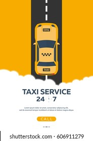 Poster Taxi service. Taxi car. Vector flat illustration