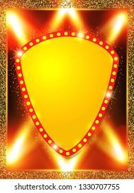 Poster Template banner with spotlights. Design for presentation, banner, concert, show. Vector illustration