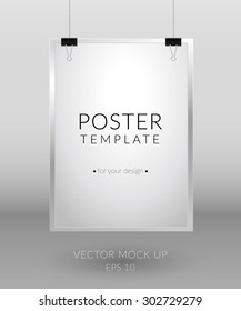 Poster template. Blank paper hanging with paper clips on light background.  Vector mock up - EPS 10