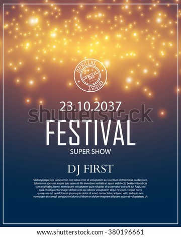 poster template bokeh effect concert party のベクター画像素材