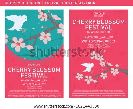 Poster Template Cherry Blossom Festival List Stock Vector Royalty
