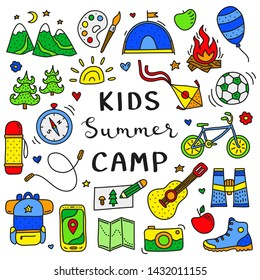 Poster template with cute doodle colored kids camp, outdoor icons and lettering isolated on white background.