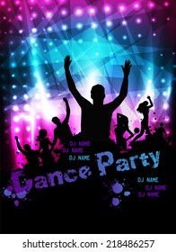 Poster template for disco party with silhouettes of dancing people and grunge elements