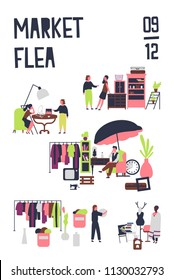 Poster template for flea market or rag fair with buyers and sellers of accessories, vintage furnishings, stylish clothing. Colored vector illustration in flat cartoon style for event announcement