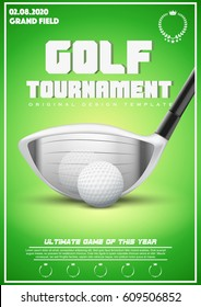 Poster Template with Golf Tournament. Cup and Trophy Advertising. Sport Event Announcement. Vector Illustration.
