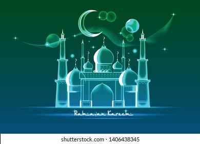 Poster template or greeting card for the holiday of Ramadan with a luminous building of the mosque, crescent and the words of Ramadan Kareem. Vector illustration in x-ray style on green background.