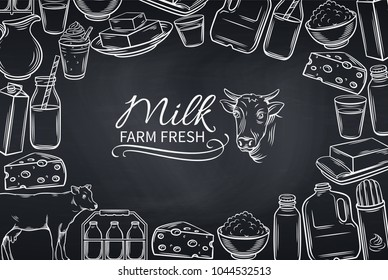 Poster template with hand drawn milk products for farmers market menu design. Vector vintage illustration. Food design page concept. Chalkboard style.