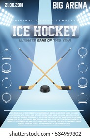 Poster Template Ice Hockey Games With Sticks And Puck Cup Tournament Advertising Sport