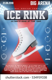 Poster Template of Ice Skating Rink with ice skate boots. Weekend Recreation Advertising and Announcement. Vector Illustration.