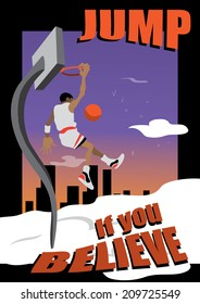 Poster template, man dunking on a basketball playground