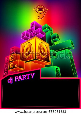 poster template rainbow neon loudspeakers dj stock vector royalty