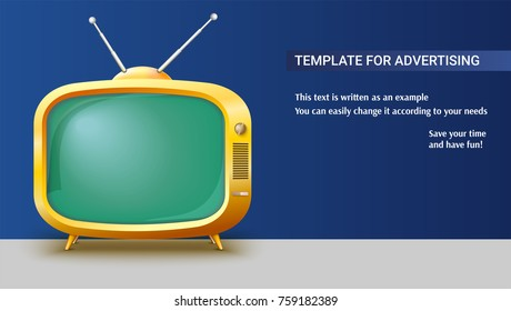 Poster template with retro yellow TV set for advertisement on horizontal long backdrop, 3D illustration. Realistic vintage TV with a blank green screen and antennas.