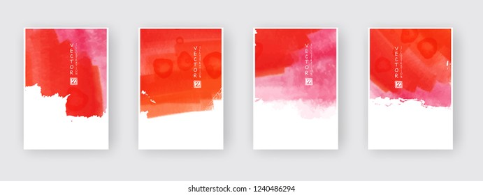 Poster template set. Hand drawn Watercolor stain background collection. Ink Abstract background for mobile wallpaper, card, brochure, banner, web design. Abstract vector illustration.