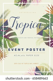Poster template with summer tropical leaves. Vector illustration.