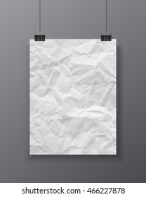 Poster template. Vector blank creased paper texture banner isolated