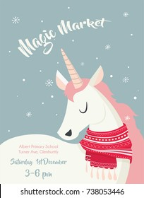 poster template for winter market with magical unicorn wearing winter scarf
