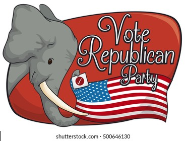 Poster with tender elephant holding the American flag with its trunk supporting the Republican vote in the next elections.