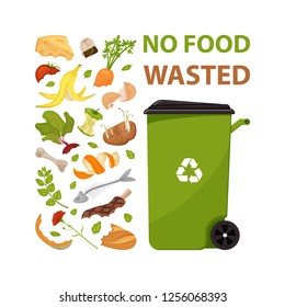 Poster with text No food wasted. Cartoon dumpster with food garbage. Illustration for food processing and compost, organic waste, zero waste theme. Flat vector design. Environmentally friendly food.
