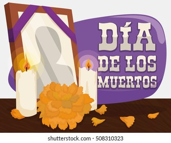 "Poster with traditional altar with a deceased frame, candles and cempasuchil or marigold flower to remember and pay respect to the dead in ""Dia de Muertos"" (Spanish for ""Day of the Dead"")."