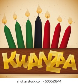 Poster with traditional candles in a tribal sign with golden letters for Kwanzaa celebration.