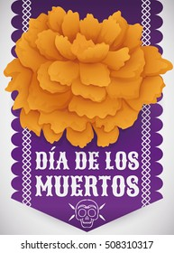 "Poster with traditional cempasuchil (or marigold) flower over purple tissue paper as offering to deceased in Mexican tradition of ""Dia de Muertos"" (Spanish for ""Day of the Dead"")."